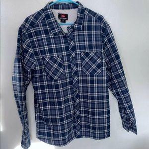 Quicksilver Sherpa Button Blue Flannel Plaid Shirt
